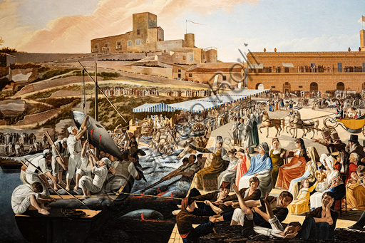 """Paolo Albertis: """"The tuna fish mattanza in Solanto at the presence of the royal family"""", oil painting, 1819."""
