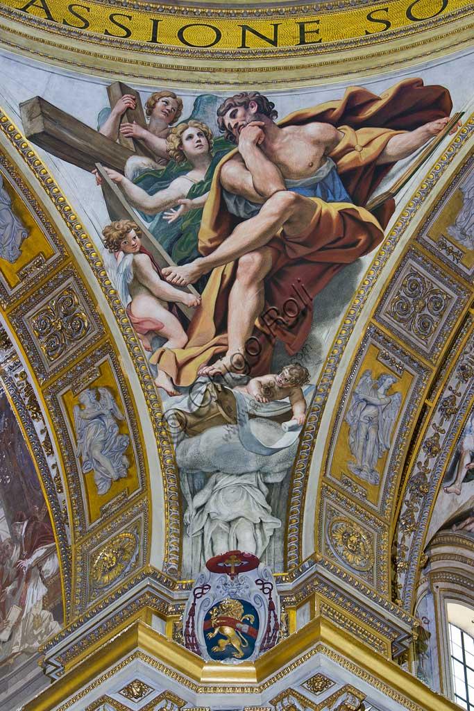 """Basilica di S. Andrea della Valle, pennacchi della cupola del transetto: """"S. Matteo evangelista"""".  Affresco del Domenichino (Domenico Zampieri), 1622 - 28."""