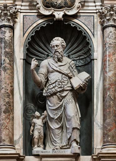 """Genova, Duomo (Cattedrale di S. Lorenzo), interno, presbiterio, parete nord: """"S. Matteo"""", 1547-53, statua di Giovanni Maria Cattaneo da Passallo."""