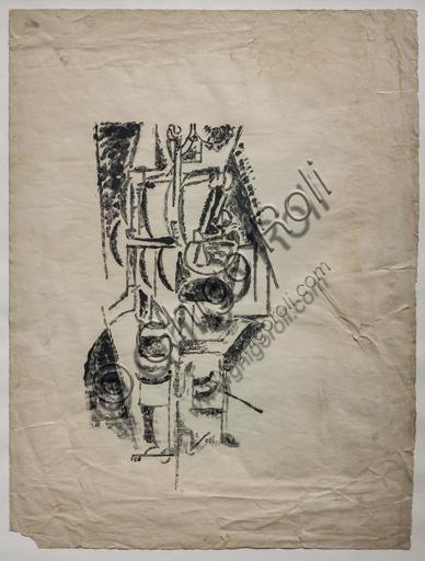 """Museo Novecento: """"Mendicante"""", di Ardengo Soffici, 1915. Vitrografia, monotipo a olio."""