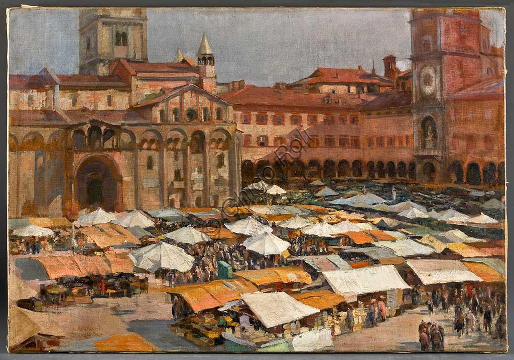 """Collezione Assicoop Unipol:  Augusto Baracchi (1878-1942), """" Mercato in Piazza Grande a Modena"""". Olio su tela, cm 55x80."""