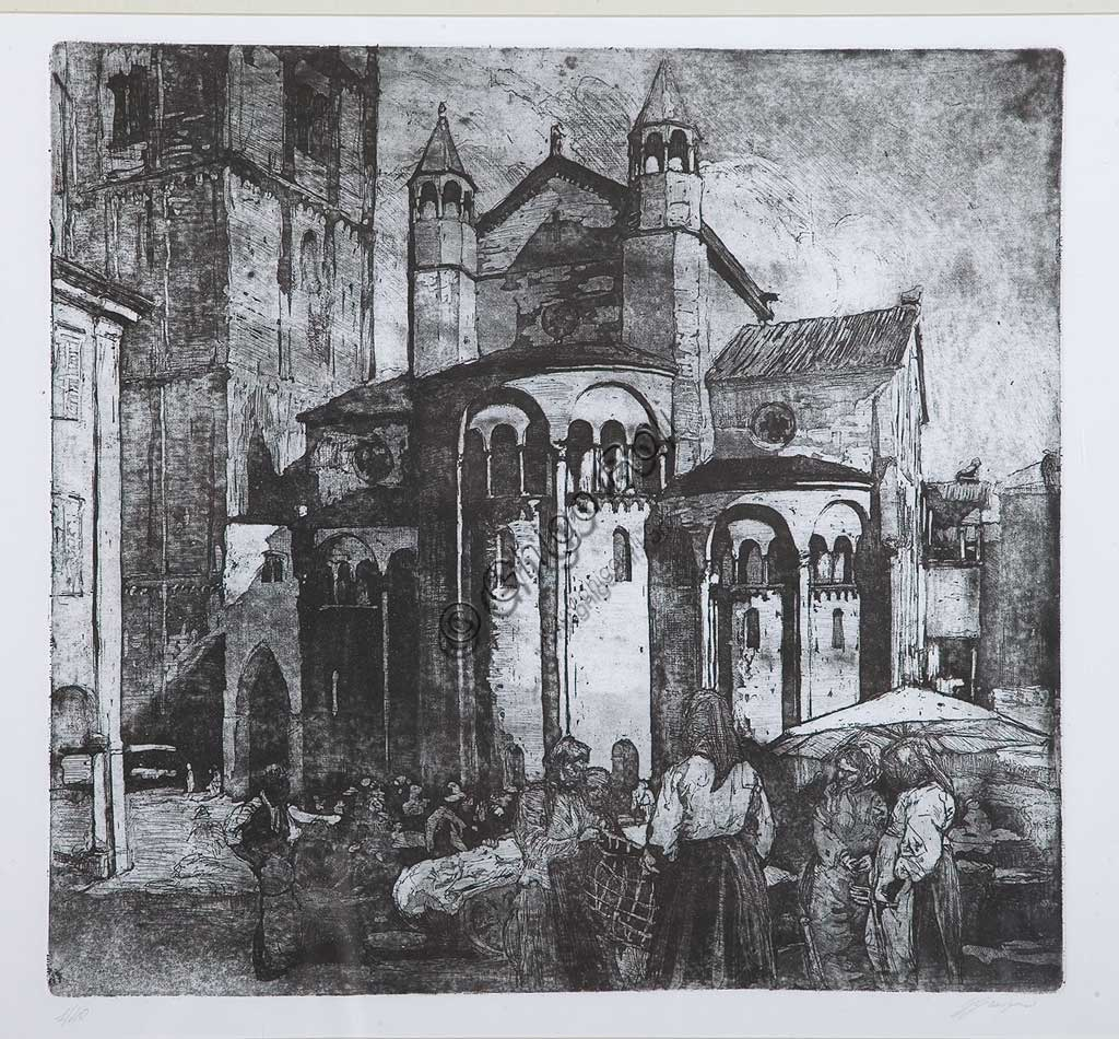 """Collezione Assicoop - Unipol: Giuseppe Graziosi (1879-1942), """"Mercato in piazza Grande"""", acquaforte e acquatinta su carta, lastra."""