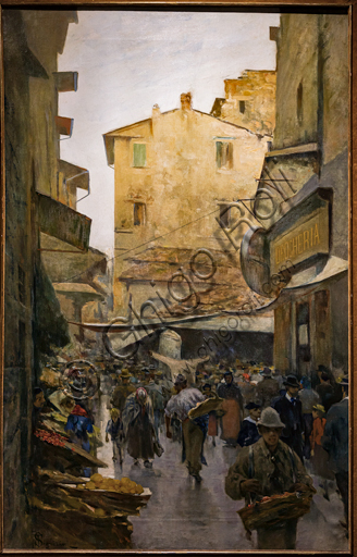 """Telemaco Signorini: """"The Old Market from Degli Speziali Street """", about 1882, oil painting on canvas."""