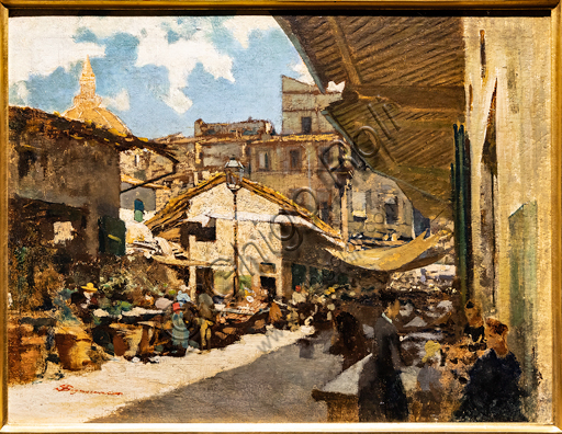 """Telemaco Signorini: """"The Old Market in Florence"""", 1882-3, oil painting on cardboard."""