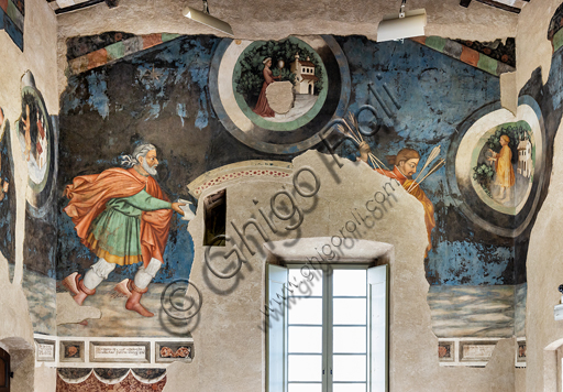 Foligno, Trinci Palace:  The Hall of Liberal Arts and Planets. In this hall the symbolic figures of the seven planets are represented (Moon, Mars, Mercury, Jupiter, Venus, Saturn, Sun) following the order of the days of the week. Each planet oversees a phase of human life that is depicted inside concentric disks where in the middle zone, the Air, the Sun and the Moon define a specific time of day. On the north wall of the Hall the Arts of Trivio (Grammar, Dialectic, Rhetoric) and of the Quadrivium (Arithmetic, Music, Geometry and Astronomy) were depicted, according to a hierarchical order of learning that leads to the point of arrival of all h