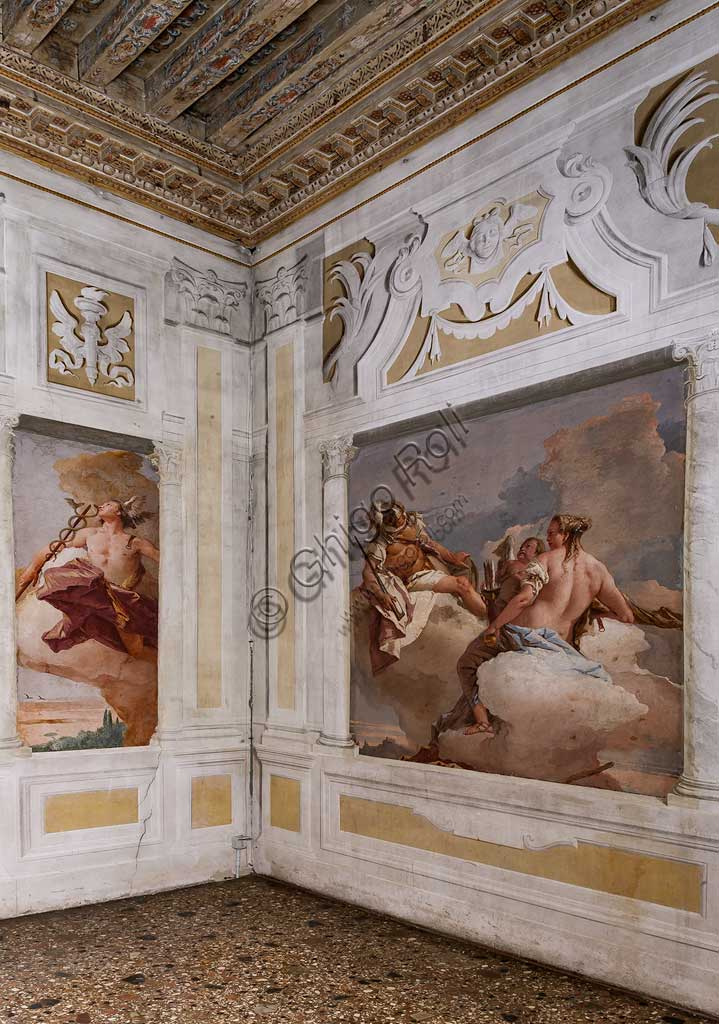 "Vicenza, Villa Valmarana ai Nani, Guest Lodgings: view of the Room  of the Olympus. On the left, ""Mercury"". On the right ""Mars, Venus and Eros"", frescoes by Giambattista Tiepolo, 1757."