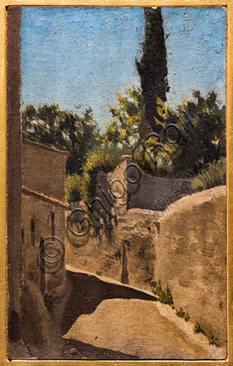 """Telemaco Signorini: """"Sunny Midday. Surroundings of Florence"""", 1861-2, oil painting on cardboard."""