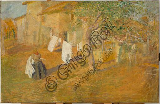 "Giuseppe Graziosi (1879 - 1942): ""Meriggio""; olio su tela, cm  95,5  X 149,5."