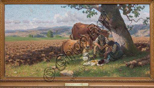 """Piacenza, Galleria Ricci Oddi:  """"Meriggio, l'ora del pasto"""" (1900 circa), olio su tela di Stefano Bruzzi (1835 - 1911)."""