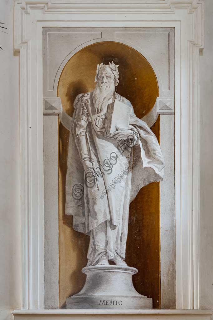 """Villa Loschi  Motterle (già Zileri e Dal Verme),  scalone: """"Il Merito"""", affresco monocromo di Giambattista Tiepolo (1734)."""