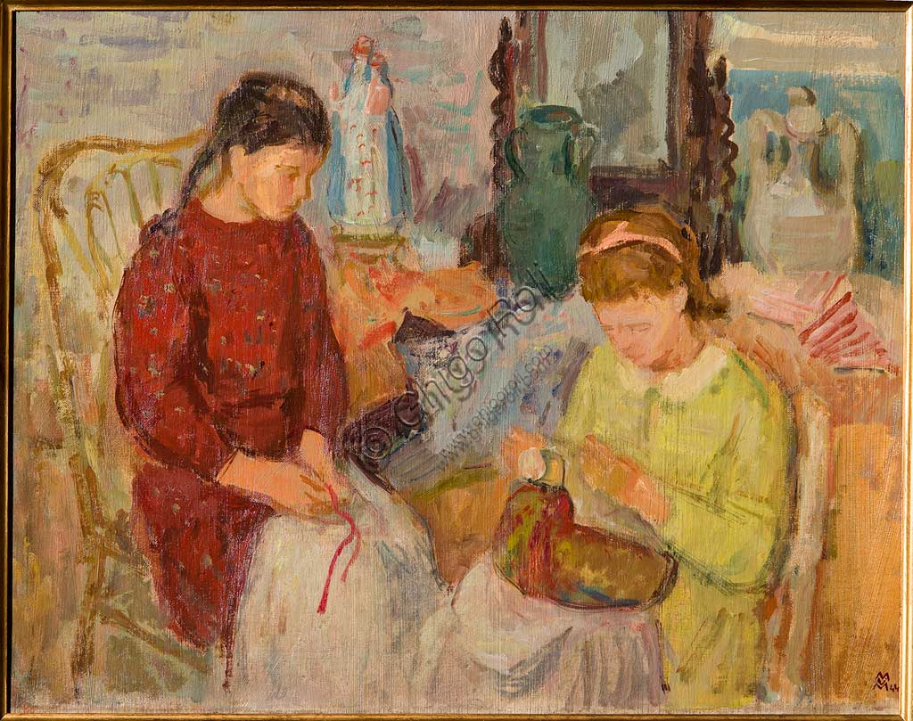 """Assicoop - Unipol Collection: Mario Vellani Marchi (1895-1979), """"Burano Lacemakers - 1944"""". Oil on cardboard, cm. 41 x 54."""
