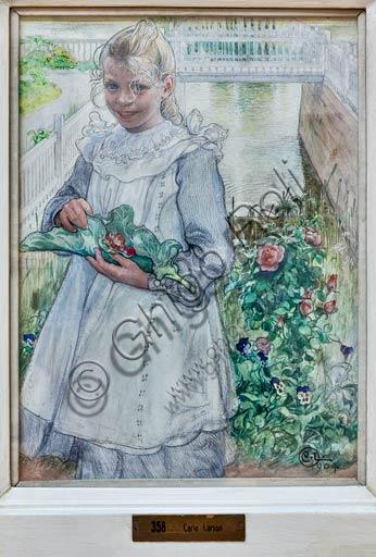 """Piacenza, Galleria Ricci Oddi:  """"La mia bambina con le fragole"""" (1904), tempera su cartone di Carl Larsson (1855 - 1919)."""