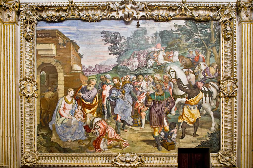 Milano, Certosa, interno: Adorazione dei Magi, di Simone Peterzano (affresco, 1582).