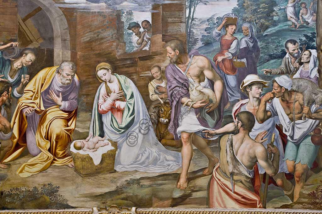 Milano, Certosa, interno: Natività di Simone Peterzano (affresco, 1582).