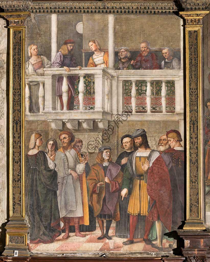 """Padova, Basilica di Sant'Antonio o del Santo, Scuola del Santo, Salone:  """"Il miracolo del bicchiere"""", affresco di Girolamo Tessari, detto Girolamo Dal Santo, 1511."""