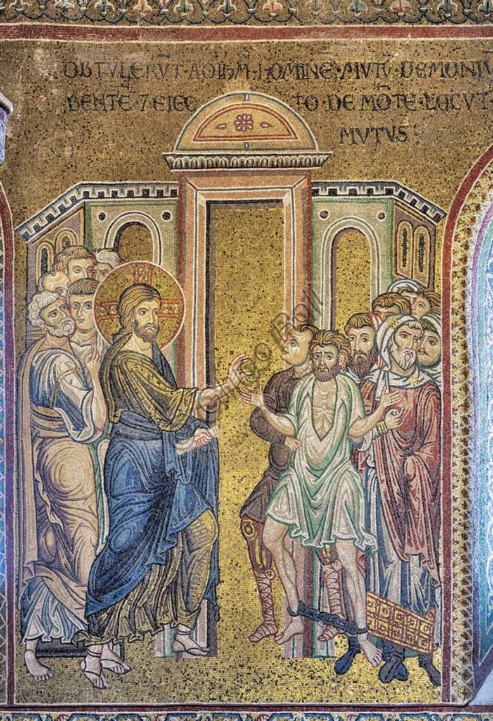 "Monreale, Duomo: ""The Miracle of the healing of the Possessed"", Byzantine mosaic, Episodes from the life of Christ, XII - XIII centuries. Latin inscription:""OBTULERUNT AD IESUM HOMINEN MUTUM DÆMONIUM HABENTEM - IESUS SANAVIT ET EIECTO DAEMONE, LOCUTUS EST MUTUS"" ."