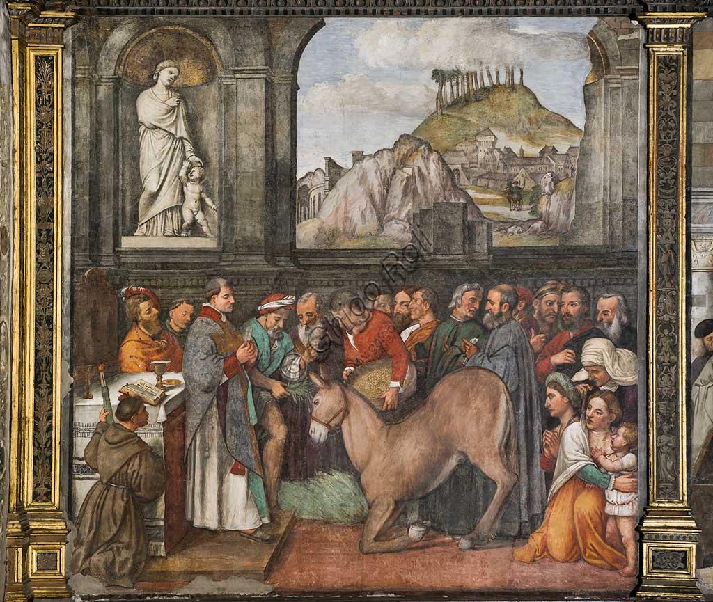 """Padova, Basilica di Sant'Antonio o del Santo, Scuola del Santo, Salone, parete nord:-   """"Il miracolo della mula"""", affresco di Girolamo Tessari, detto Girolamo dal Santo, 1515"""