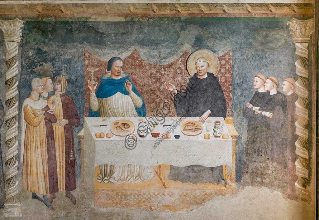"Codigoro, Pomposa Abbey, Refectory: fourteenth-century frescoes attributed to the painter of the Rimini school, Maestro di Tolentino: ""The Miracle of St Guido"", in which the blessed abbot turns water into wine before Gebeardo, the Archbishop of Ravenna."