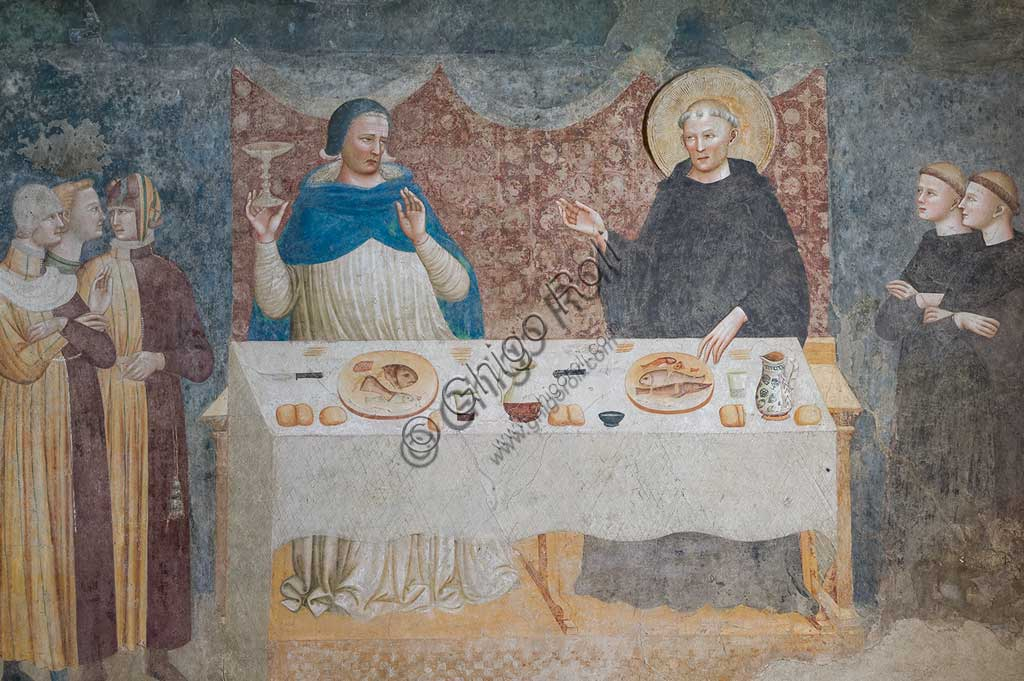 """Codigoro, Pomposa Abbey, Refectory: fourteenth-century frescoes attributed to the painter of the Rimini school, Maestro di Tolentino: """"The Miracle of St Guido"""", in which the blessed abbot turns water into wine before Gebeardo, the Archbishop of Ravenna."""