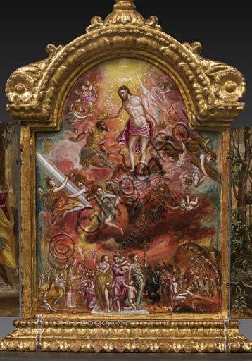 Modena, Galleria Estense: altarolo portatile di Domenico Theotokòpoulòs detto El Greco (1541-1614). Tempera grassa su tavola, cm 37 x 23,8. Nel comparto centrale: al centro Cristo, che regge uno stendardo bianco con la Croce alludente alla Resurrezione, incorona un cavaliere cristiano, mentre al tempo stesso calpesta le allegorie del male e della morte che poggiano sopra le raffigurazioni simboliche dei quattro Evangelisti, mentre gli angeli intorno sorreggono i simboli della Passione. In basso al centro sono raffigurate le tre Virtù teologali (Fede, Speranza, Carità), con a sinistra un gruppo di fedeli che riceve la comunione da parte di un vescovo e a destra i peccatori che vengono spinti dal mostro verso l'Inferno.