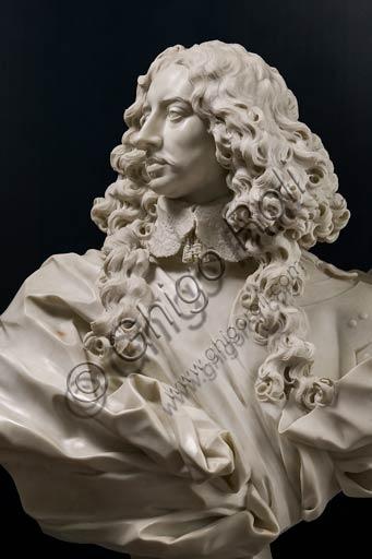 Modena, Galleria Estense: busto marmoreo di Francesco I d'Este; Gian Lorenzo Bernini, (1598-1680). Particolare.
