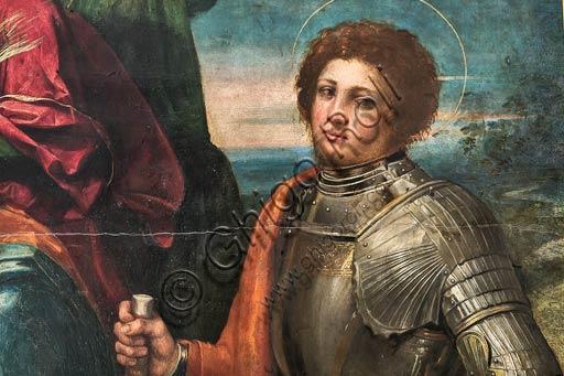 Modena, Galleria Estense: Madonna col Bambino e i Ss. Sebastiano e Giorgio, di Giovanni Luteri conosciuto come Dosso Dossi. Particolare.