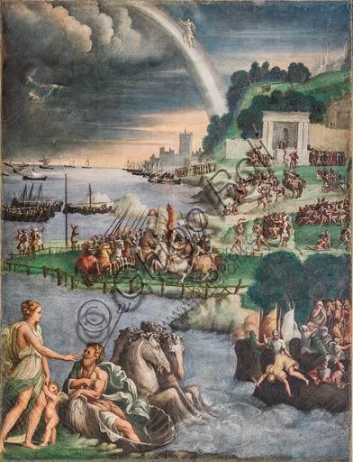 Modena, Galleria Estense; scene dell'Eneide di Nicolò dell'Abate, (1510-1571). Si tratta di affreschi staccati  dal Camerino dell'Eneide della Rocca dei Conti Boiardo a Scandiano).Scena 12: Venere prega Nettuno di proteggere le navi di Enea; Canto V.