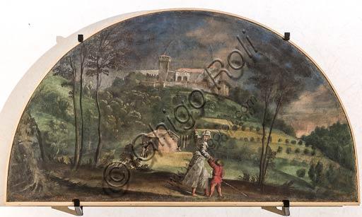 Modena, Galleria Estense; scene dell'Eneide di Nicolò dell'Abate, (1510-1571). Si tratta di affreschi staccati  dal Camerino dell'Eneide della Rocca dei Conti Boiardo a Scandiano).Lunetta 3: paesaggio con donna che indica un castello ad un bambino.