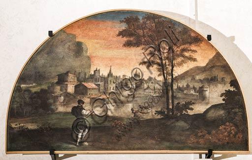 Modena, Galleria Estense; scene dell'Eneide di Nicolò dell'Abate, (1510-1571). Si tratta di affreschi staccati  dal Camerino dell'Eneide della Rocca dei Conti Boiardo a Scandiano).Lunetta 2 : Matteo Maria Boiardo che scrive il suo poema.