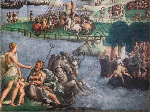 Modena, Galleria Estense; scene dell'Eneide di Nicolò dell'Abate, (1510-1571). Si tratta di affreschi staccati  dal Camerino dell'Eneide della Rocca dei Conti Boiardo a Scandiano).Scena 12: Venere prega Nettuno di proteggere le navi di Enea; Canto V. Particolare.