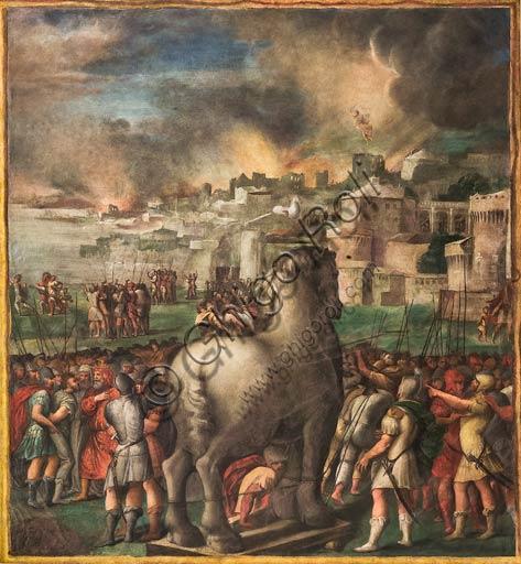 Modena, Galleria Estense; scene dell'Eneide di Nicolò dell'Abate, (1510-1571). Si tratta di affreschi staccati  dal Camerino dell'Eneide della Rocca dei Conti Boiardo a Scandiano).Scena 11: Il trasporto del cavallo sotto le mura di Troia; Eneide, Canto II.