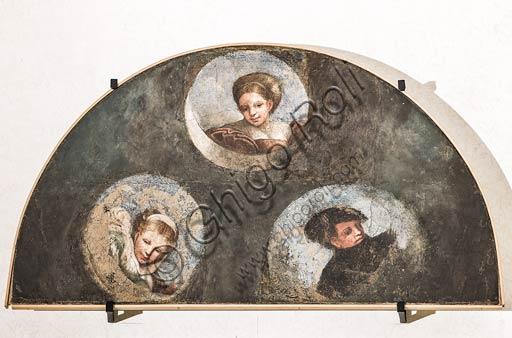 Modena, Galleria Estense; scene dell'Eneide di Nicolò dell'Abate, (1510-1571). Si tratta di affreschi staccati  dal Camerino dell'Eneide della Rocca dei Conti Boiardo a Scandiano).Lunetta 1 con tre personaggi che appaiono tra le nubi.