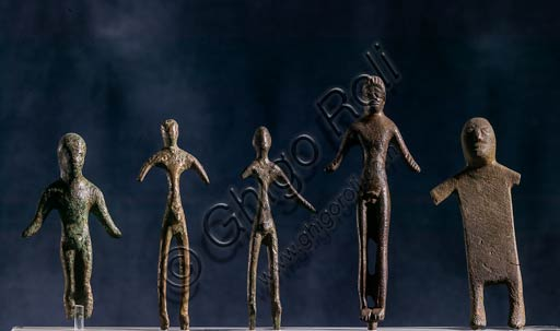 Modena, Civic Museum of Archaelogy and Ethnology: Bronze figurines from the votive ditch (stipe) at the Brazzano Lake, near Montese. VI - II centuries B.C.