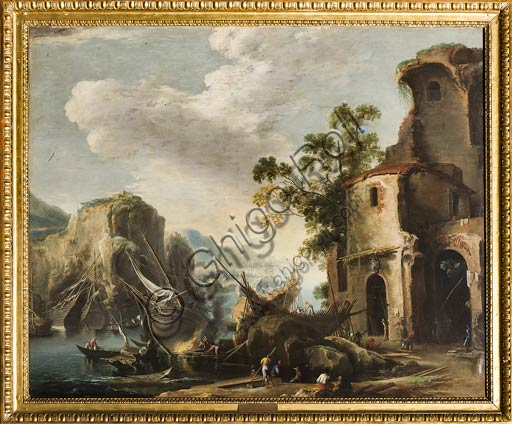 "Modena, Civic Museum of Art: ""View of a Bay"", by Salvator Rosa."