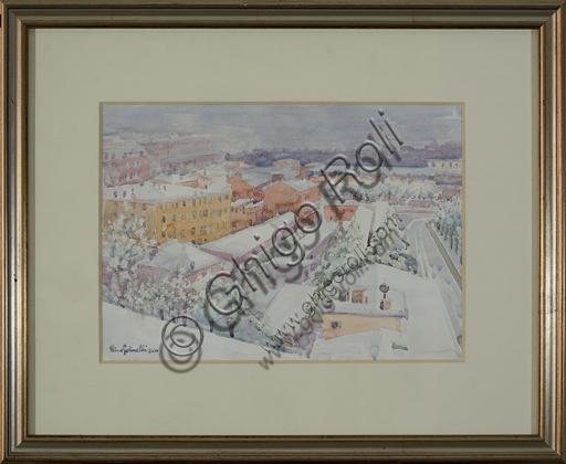 """Rino Golinelli (1932): """"Modena, panorama innevato"""", (acquerello, cm. 26 x 36)."""