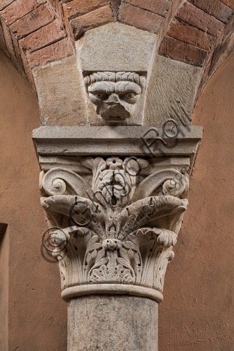 Modena, Ghirlandina Tower, Torresani Hall, east wall: a Corinthian capital with a sculpted face in the abacus protome. Campionese Masters, XII - XIII century.