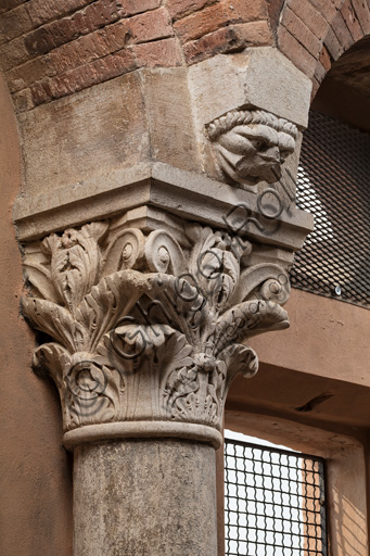 Modena, Ghirlandina Tower, Torresani Hall, east wall: a Corinthian capital with a sculpted face in the abacus protome.