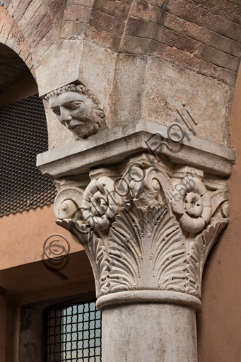 Modena, Ghirlandina Tower, Torresani Hall, north wall: a Corinthian capital with a sculpted face in the abacus protome. Campionese Masters, XII - XIII century.