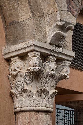 Modena, Ghirlandina Tower, Torresani Hall, west wall: a Corinthian capital. Campionese Masters, XII - XIII century.