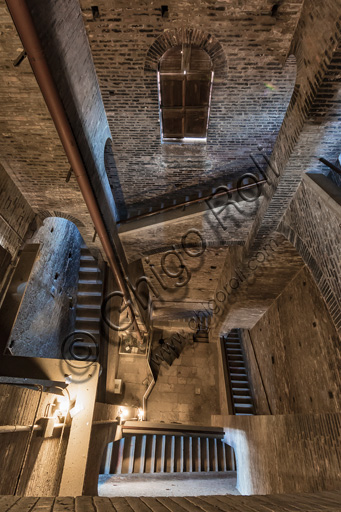 Modena, Ghirlandina Tower: view of the internal stairway.