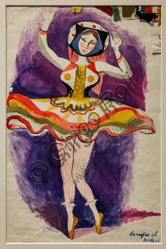 """Museo Novecento: """"La moglie del burlone per Chout, di Sergei Prokofiev"""". Bozzetto di Renato Guttuso, 1950. Matita e china su cartoncino."""