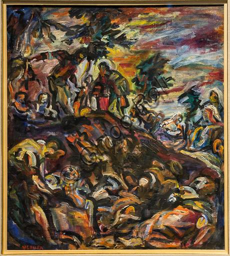 """Museo Novecento: """"La moltiplicazione dei pani e dei pesci"""", di Emilio Vedova, 1942. Olio su tela."""