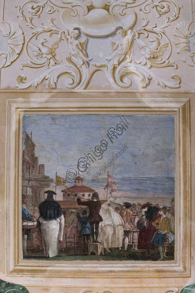 "Vicenza, Villa Valmarana ai Nani, Guest Lodgings, the Room of the Carnival Scenes: ""New World"", a scene with masks imitating an oil paiting. Frescoes by Giandomenico Tiepolo, 1757."