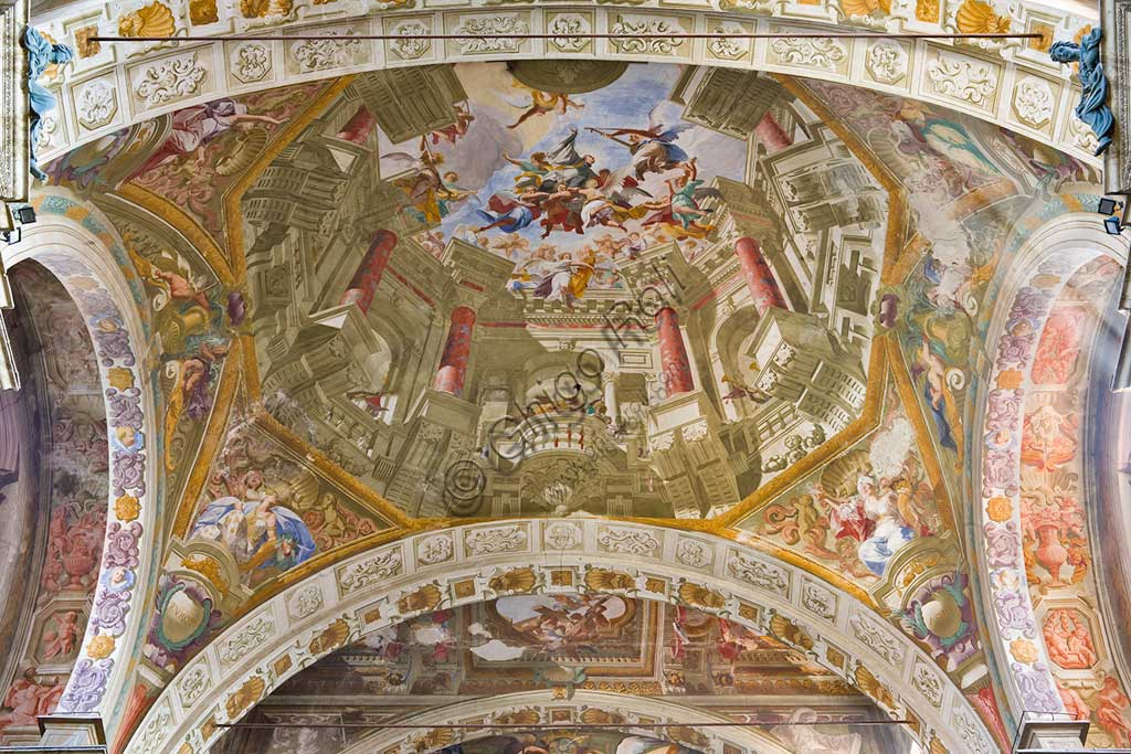 Mondovì, Church of the Mission (or of Jesus), false dome: ceiling with apotheosis pf St. Francesco Saverio. Frescoes by Andrea Pozzo (1679).