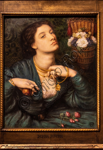 """Monna Pomona"", (1864) by Dante Gabriel Rossetti (1828-1882); watercolour and gum arabic on paper. The model is Ada Vernon.The Roman goddess of fruits, Pomona, is symbolically represented. The representation is characterized by pearls, apples, flowers, jewels."