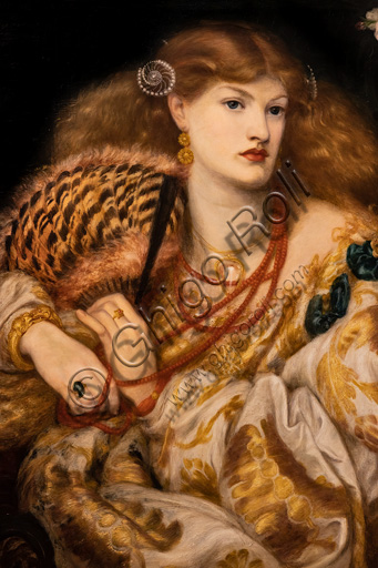 """""""Monna Vanna"""", (1866)  by Dante Gabriel Rossetti (1828-1882); oil painting on canvas. The model is Alexa Wilding. Detail."""