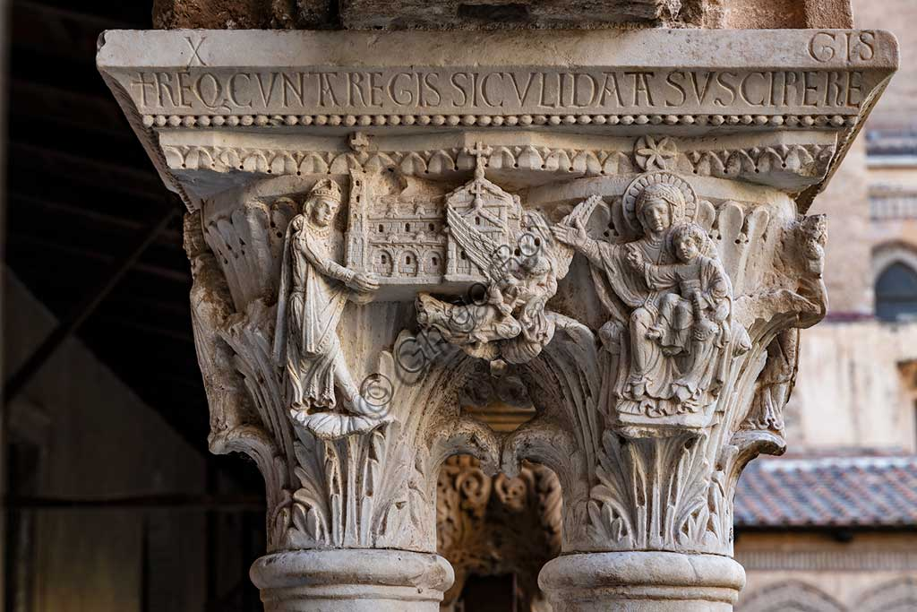 "Monreale, Duomo, the cloister of the Benedectine monastery (XII century): the Southern side of capital W8; ""William II the Emperor offering the Cathedral to the Virgin and Infant Jesus""."