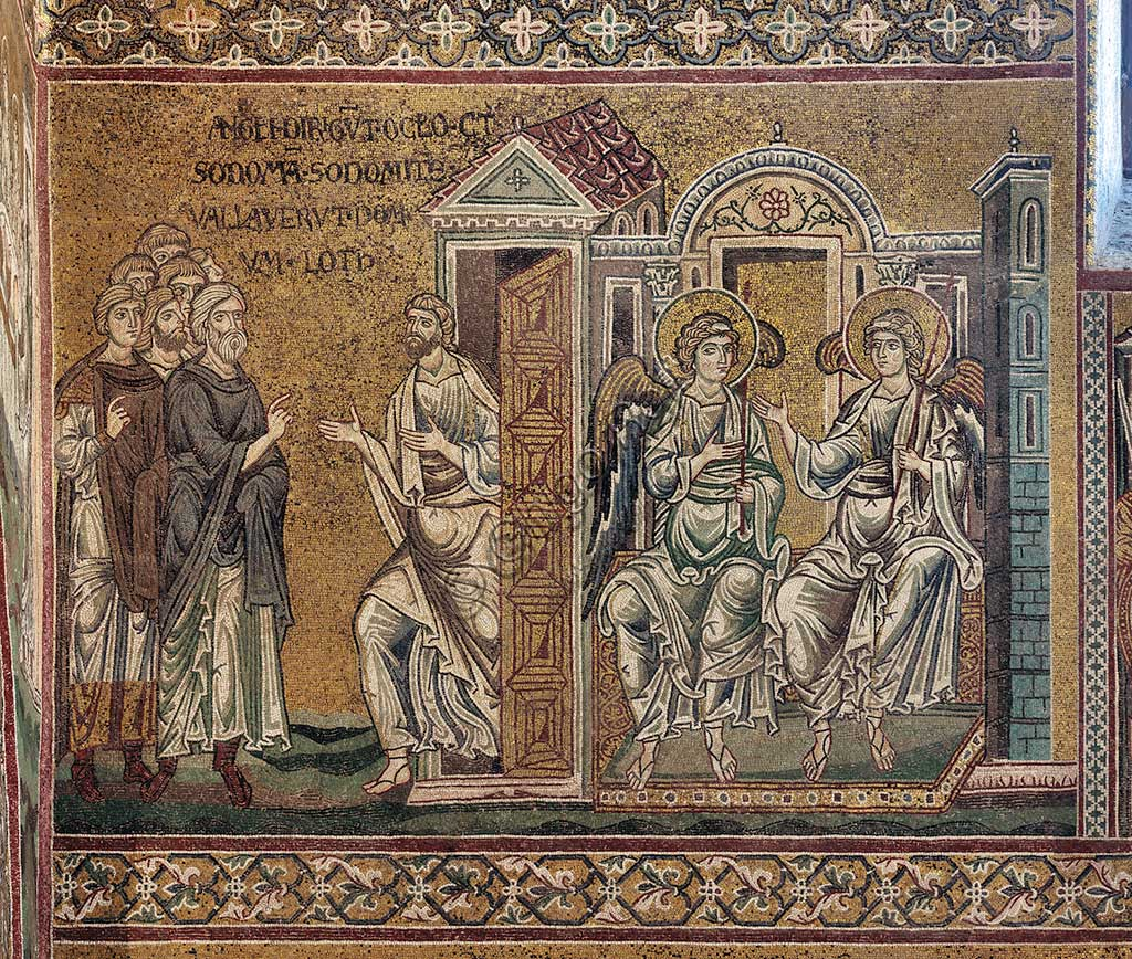 "Monreale, Duomo: The punishment of Sodom (Lot and the two angels), Byzantine mosaic, XII - XIII century, on the counter-façade.Latin inscription: ""ANGELIS DIRIGUNT OCULOS CONTRA SODOMEN SODOMITÆ VALLAVERUNT DOMUM LOTH""."
