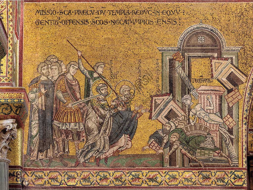 "Monreale, Duomo: ""The martyrdom of St. Cassius and St Casto - The destruction of the temple and the idol of Apollo"", Byzantine mosaic, XII - XIII century, on the counter-facade."