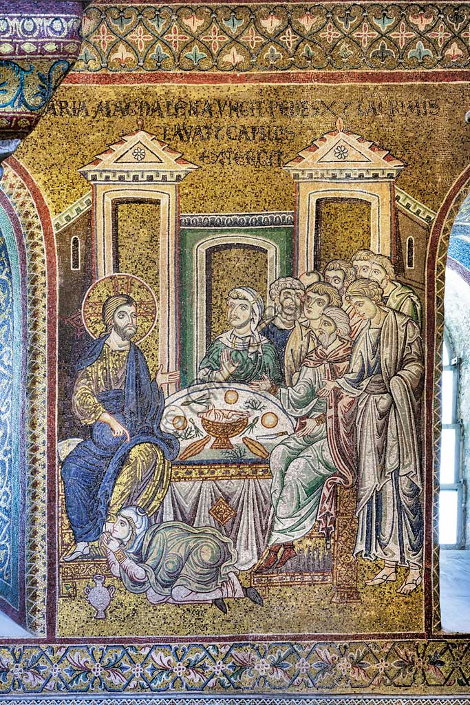 "Monreale, Duomo: ""Mary Magdalene anoints Jesus' feet with ointments, washes them with her tears and dries them with her hair"", Byzantine mosaic, Episodes from the life of Christ, XII - XIII centuries. Latin inscription:""MARIA MAGDALENA UNGIT PEDES IESUS LACRIMIS LAVAT ET CAPILLIS EXTERGIT"" ."